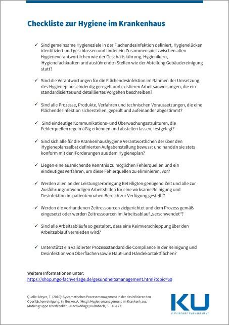 Checkliste Hygiene in der Oberflächenreinigung
