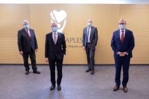 Aufsichtsratsvorsitzender Hans-Jürgen Steuber, Vorstandsvorsitzender Dr. Markus Horneber, Vorstand Jörg Marx und designierter Vorstand Finanzen / IT Sebastian Polag (v.l.n.r.).
