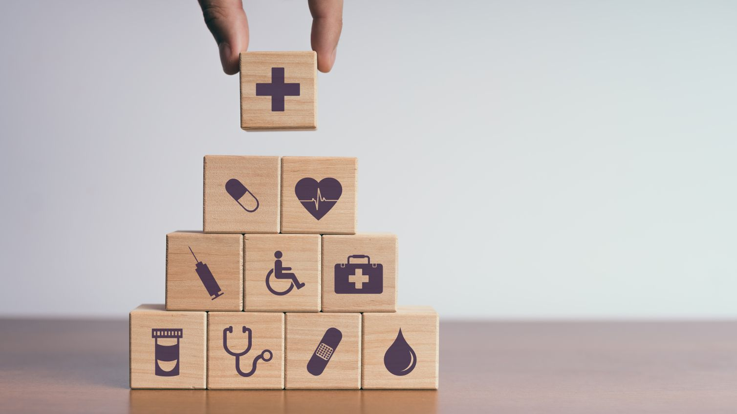 Holzklötzchen Symbole Gesundheit